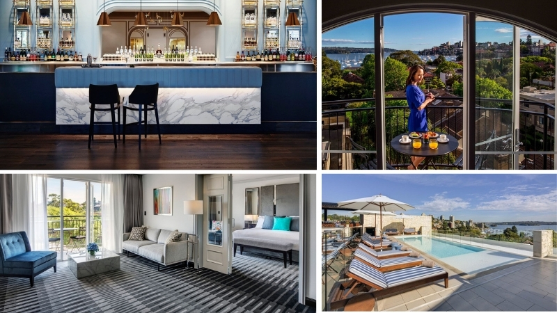 Four images of the InterContinental Double Bay including the bar, view of Sydney Harbour, rooms and rooftop pool.