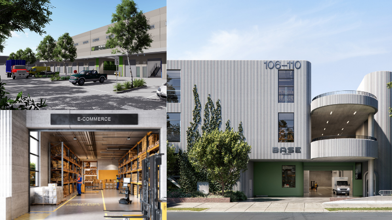 ▲ Precinct 45 (top left) at Banksmeadow is appealing to owner occupiers, while Base Alexandria (right) nearby will further test the appetite for small warehouse space. Images: CBRE
