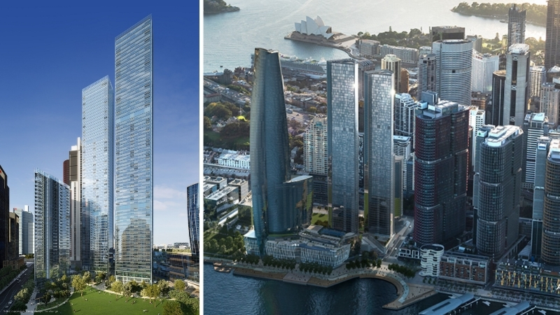 mid side images of Lendlease's developments that dot the Sydney skyline including One Barangaroo, One Sydney Harbour and the International Towers.