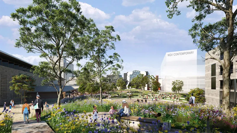▲ The gallery will connect to the Southbank arts precinct and St Kilda Road through an expansive 18,000sq m elevated public garden.