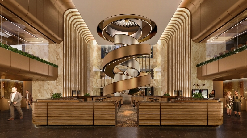 The golden interior of an office tower and its sculptural staircase at 11 Skies next to Hong Kong International Airport.