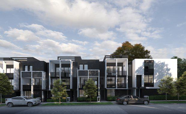 Visualisation of YarraBend's  architecturally designed free hold homes, town houses and apartments.