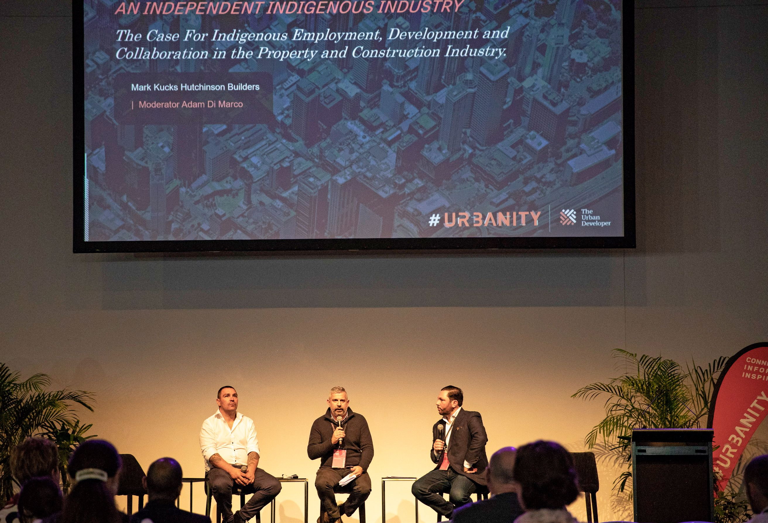 Walking with Wisdom Founder Jeremy Donovan and Hutchinson Builder's Mark Kucks speaking at Urbanity with The Urban Developer's Adam Di Marco.