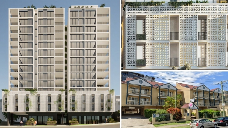 Three images, one of the 14-storey development with its white finishes, verandas and breezeblocks, the second is a close up of the breezeblocks and the third is the existing aging hotel on the Toowong site.