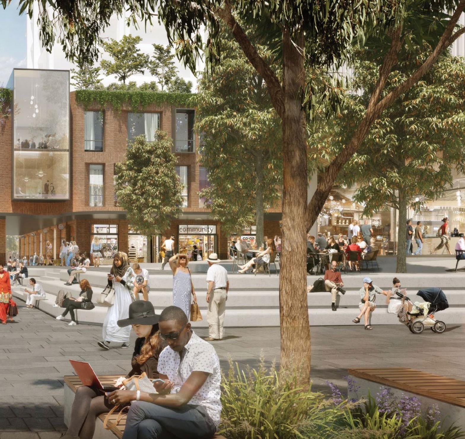 Artist impression of the new Metro Quarter Public Plaza