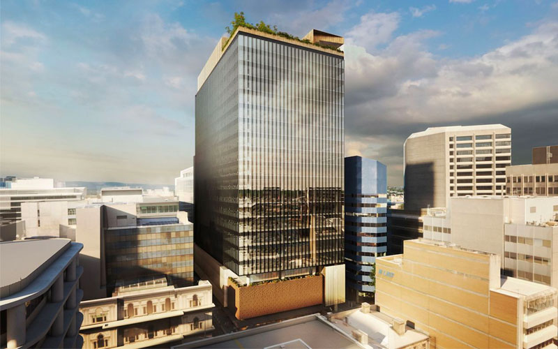 The 20-storey tower at 83 Pirie Street, Adelaide CBD was designed by Woods Bagot with 30,645sq m of space including a café, rooftop terrace and wellness centre.