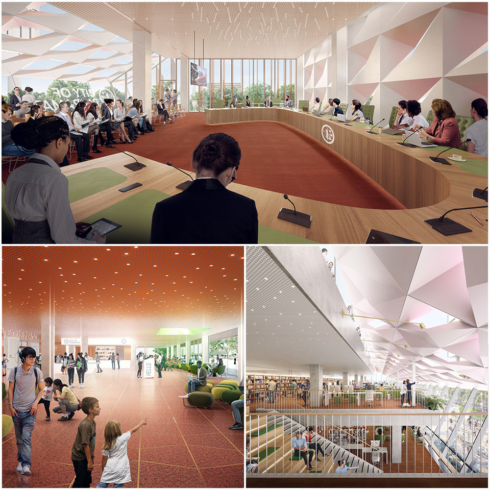 ▲ The building will incorporate council chambers, a library/community hub, a customer service centre, space for civic functions and community rooms. Image: DesignInc, Lacoste Stevenson, Manuelle Gautrand Architecture.