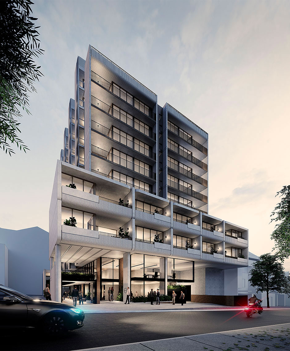 ▲ Robertson Lane will comprise 89 build-to-rent units above three basement levels in Fortitude Valley. Image: Rothelowman