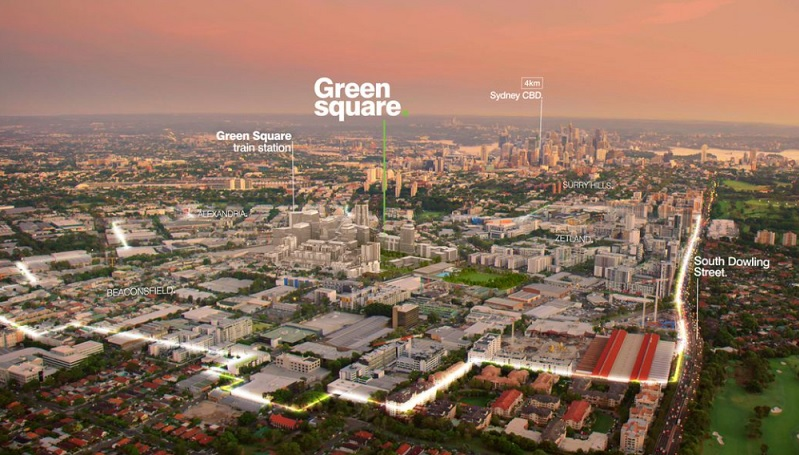 An overview of  Green Square project from which used to be industrial land with Sydney's skyline in the distance.