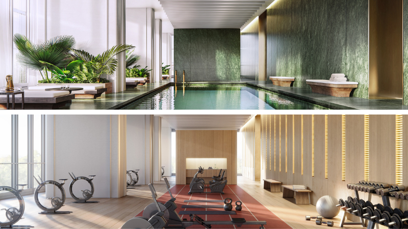 ▲ Resident amenities include an indoor and outdoor pool, gymnasium, treatment rooms, and a wine and billiards room that are accessed via private bridges between Residences One and Residences Two. Image: Lendlease