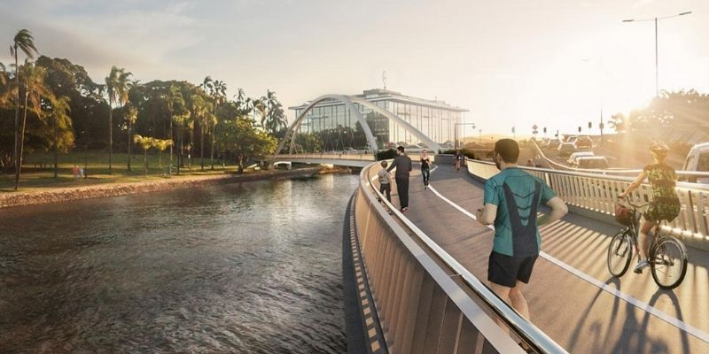 ▲ Brisbane development. The Breakfast Creek green bridge will link up to Lores Bonney Riverwalk.