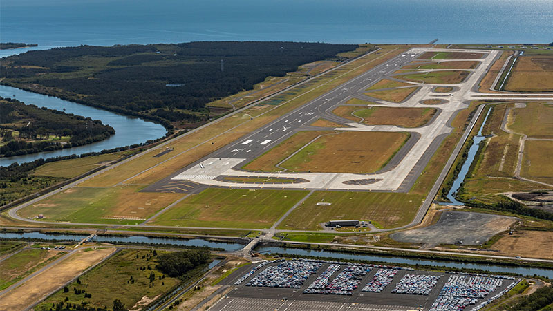Aerial view looking towards Moreton Bay of Brisbane Airport Corporation's new $1.1bn runway, which has reached practical completion amid the coronavirus pandemic.