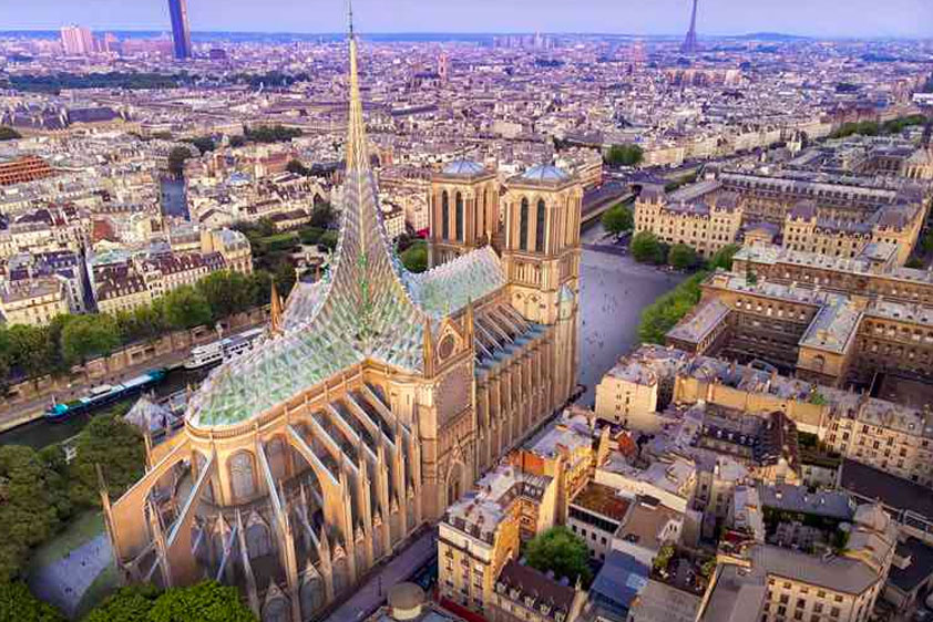 French architectural firm Vincent Callebaut has proposed a massive stain-glassed spire and greenhouse system which would generate clean energy for the cathedral.