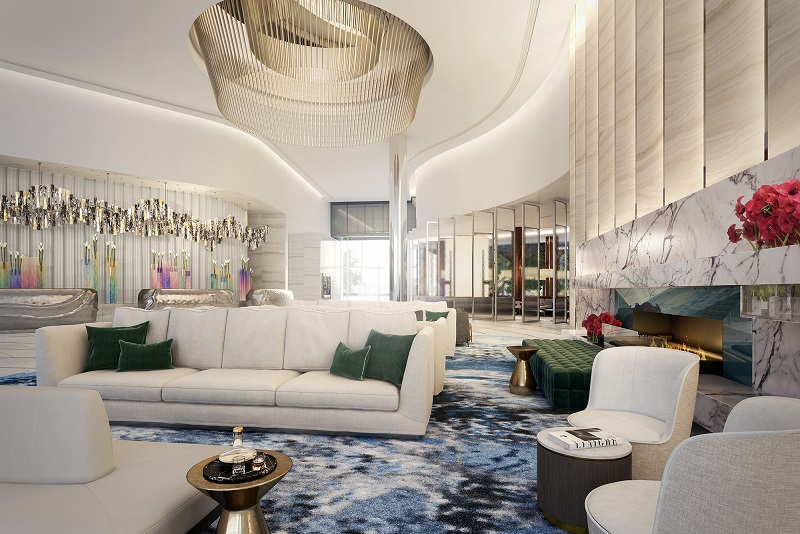 ▲ The Crown Sydney lobby at One Barangaroo features a massive crystal light installation.