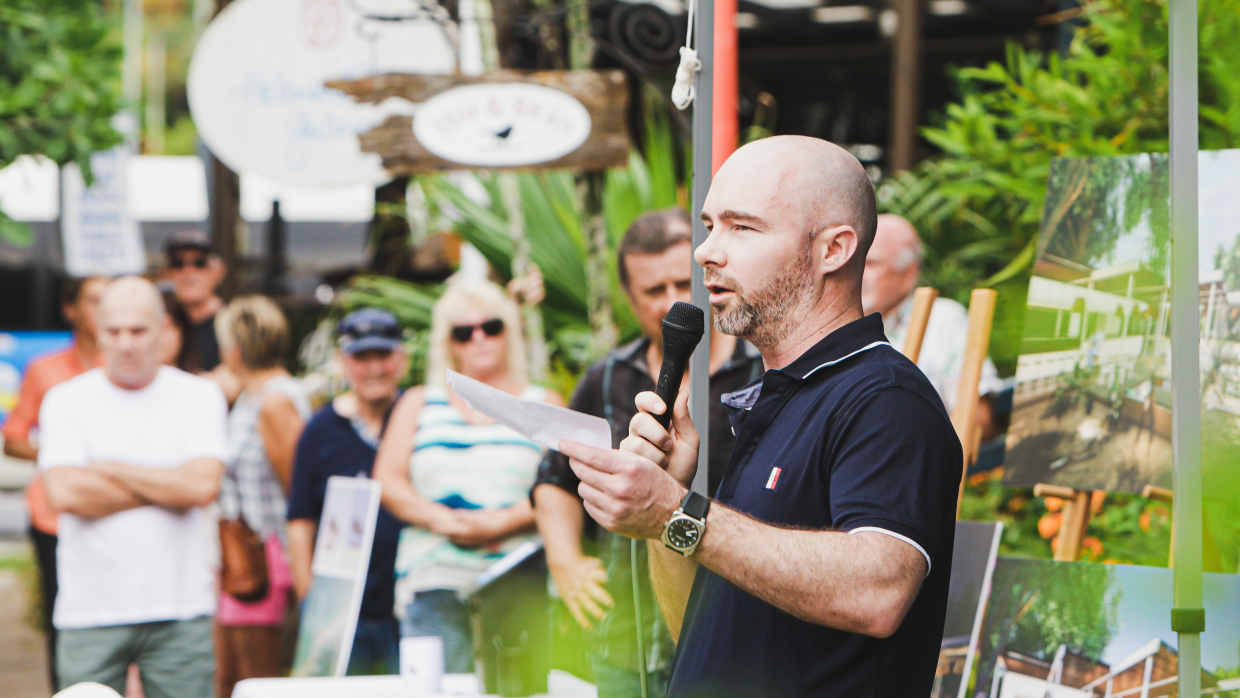 James Mawhinney speaks about Mission Beach plans earlier in a Mayfair promotion.