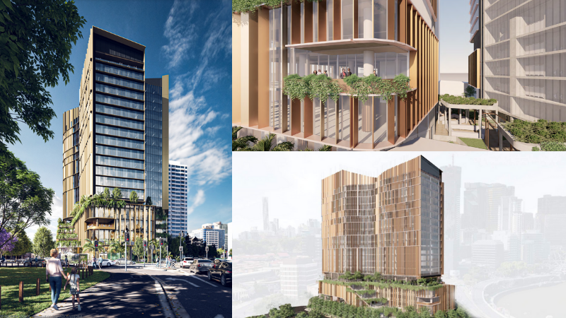 ▲ The 20-storey single tower at 309 North Quay has won approval and will feature sunblade technology to help shade the commercial building. Images: Charter Hall