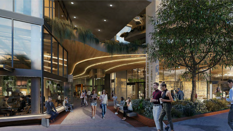 ▲ Churchill Development Group's mixed use development at 166 Breakfast  Creek Rd features retail, childcare centre and day spa as well as four floors of commercial space. Image: Arkhefield