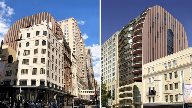 Two side by side images depicting a proposed tower in Sydney CBD with bronze and sandstone finishes and a rounded shape.