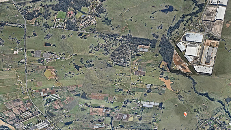 ▲ Kemps Creek comprises three separate titles across 30 hectares of industrial zoned land. Image: Nearmap