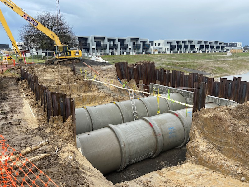 ▲ Spiire's Civil and Water Engineering teams are currently delivering integrated critical South East Water assets and Melbourne Water main drainage infrastructure as part of the Arcadia Estate masterplanned community in the Cardinia growth corridor.