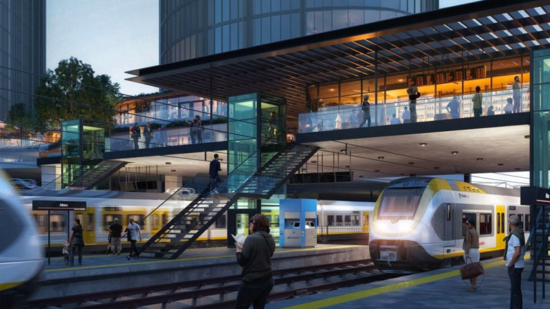 ▲ Transport facilities will be upgraded at the Albion Train Station as well as improved accessibility to enhance the precinct's integration with the local streetscape. Image: Hames Sharley
