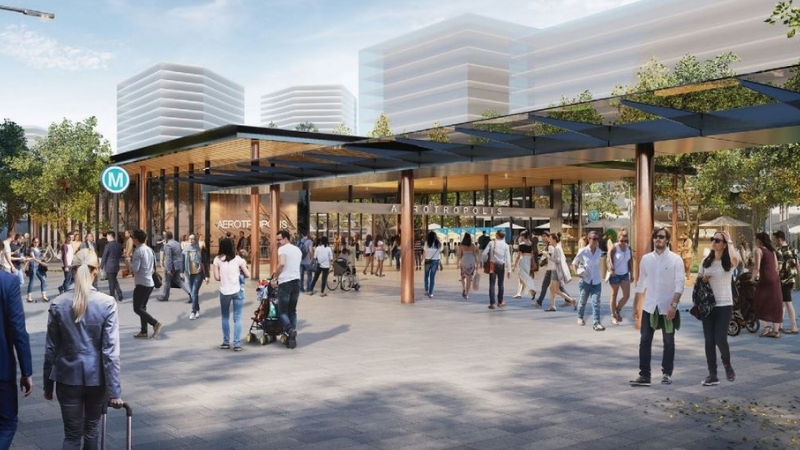 ▲ Western Sydney Aerotropolis Station and the Aerotropolis Core central business district. Image: Sydney Metro-Western Sydney Airport project overview.