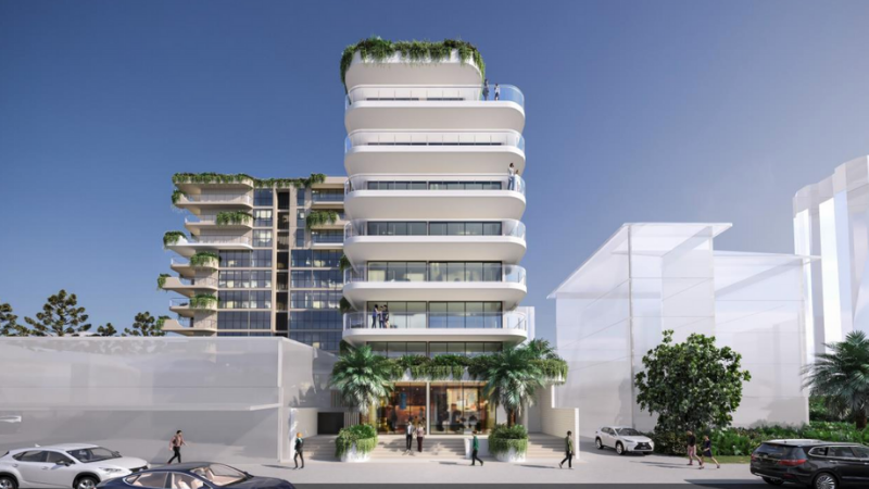 ▲ The eight-storey tower would front Ward St and consist of 6 apartments and two retail offerings. Image: Cottee Parker