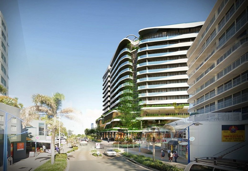 Looking down Brisbane Road, Mooloolaba from the beach towards the new 13 storey hotel development by Wagner.