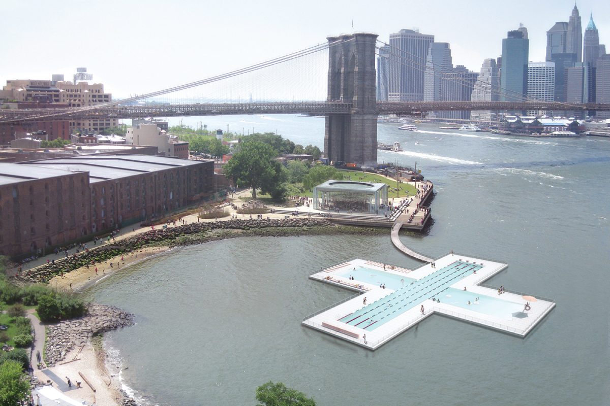 + POOL is a plus-shaped, water-filtering, floating swimming pool, designed to filter the very river that it floats in through the walls of the pool, making it possible for New Yorkers and its visitors to swim in clean river water.