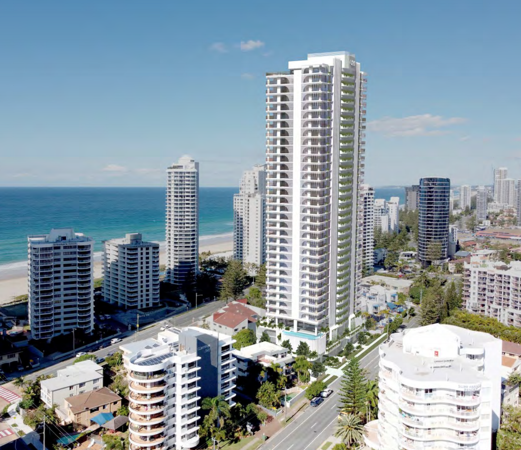 ▲ Five 2-storey dwellings would make way for the 35-storey tower at the southern end of Surfers Paradise. Image: Raunik Design Group