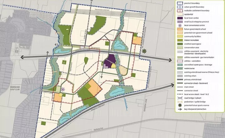 the Pakenham East concept plan makes way for 7,200 homes, four schools, retail spaces and 22 MCGs worth of parkland.
