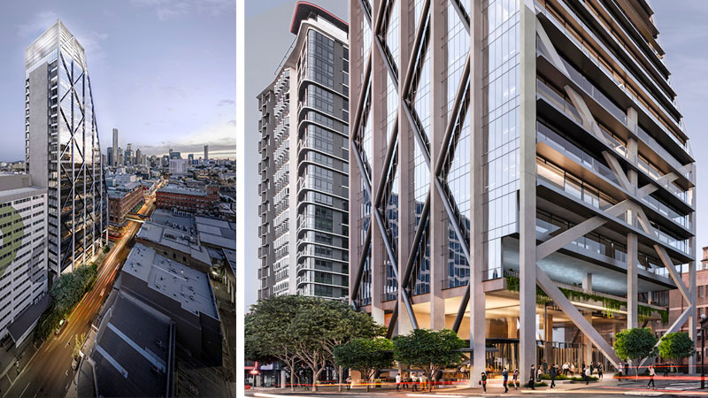 ▲ The commercial tower will hold 44 metres of frontage to Wickham Street and to Warner Street of approximately 27 metres. Image: bureau^proberts
