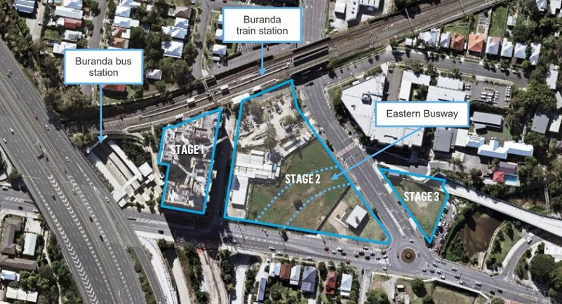 The three stages of the Buranda transit-orientated development in Woolloongabba located next to the highway and bus/railway.