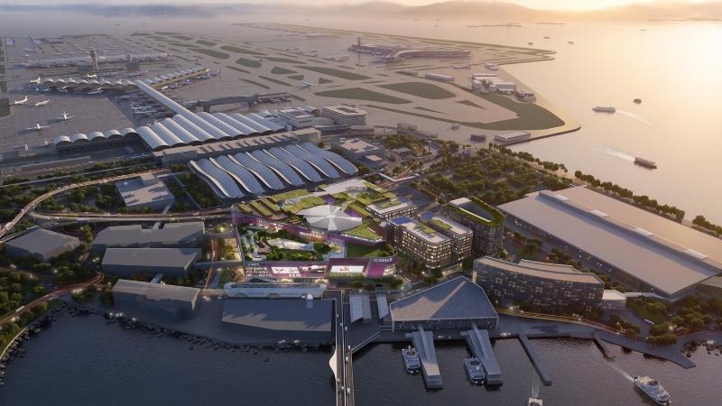 The 11 Skies precinct next to Hong Kong International Airport has a pink façade and extensive rooftop gardens.