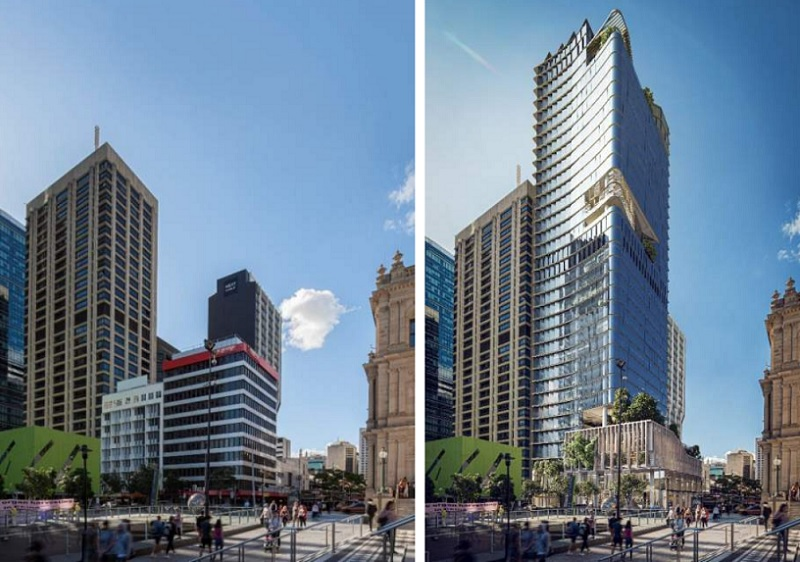 Two images side by side showing three commercial buildings along Queen Street Mall and another showing a 34 storey office tower planned for the site.