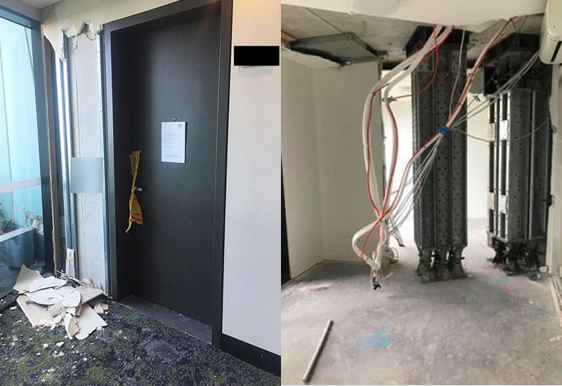 An apartment in Sydney's Opal Tower with the ceiling and flooring removed and propping equipment installed.