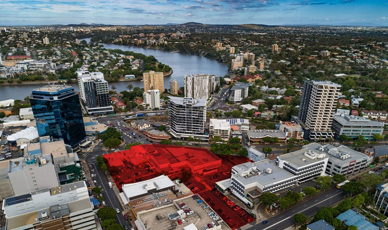 The Toowong Town Centre site is located west of Brisbane CBD near the Brisbane River.