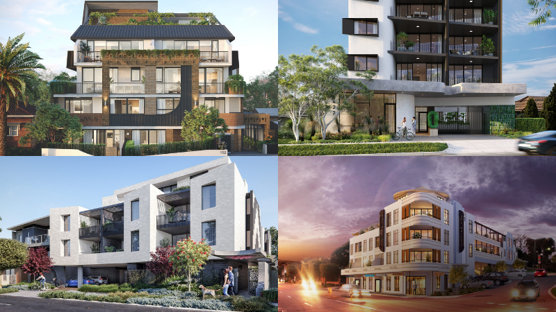 ▲ Griffin Group's The Residence, Scarborough; Cube on Canning, 204 Walcott, and Loft Haus (clockwise from top left).