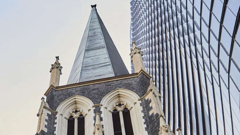 ▲ View of 130 Lonsdale Street and the Wesley Church during development at the heart of Wesley Place in Melbourne.