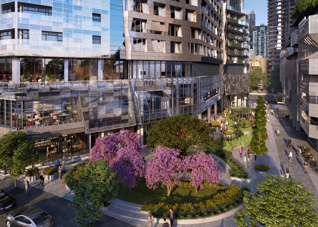 Landscaped central laneway and pocket park between podiums on ground floor