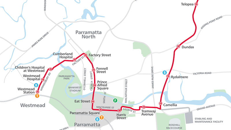▲ The 12-kilometre, $2.4 billion Parramatta Light Rail will connect Westmead to Carlingford via the Parramatta CBD and Camellia