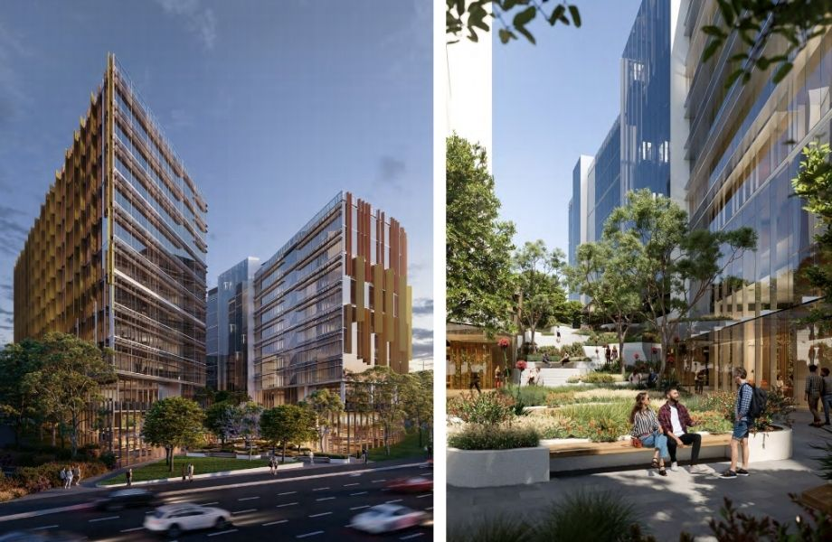 ▲ Artist's impressions of Goodman's planned two-tower development at Macquarie Park.