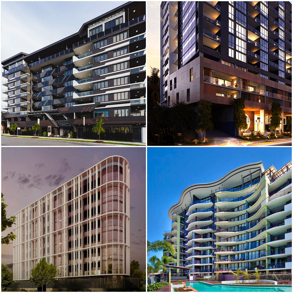 ▲ The 90-unit Augustus in Toowong (top left), 119-unit Landmark in Toowong (top right), 60-unit White Dawn in Toowong (bottom left) and 121-unit Rivers on the Park in Toowong (bottom right).