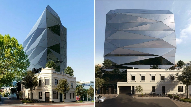 Two images of the proposed 10-store building with a black, glass, angular, contemporary office tower above a Victorian-era pub in Collingwood.