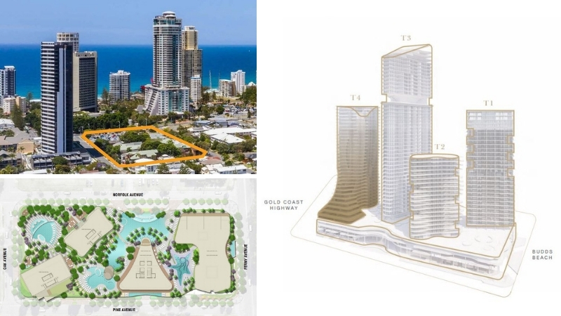 Three images depicting the land in surfers paradise surrounded by high-rises and beaches, an aerial of the building floorplate and pools as well as the four towers.