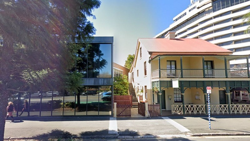 ▲ Currently on the Barber Property Group development site is a three storey office building beside the 1860's Theosophical Society Building.