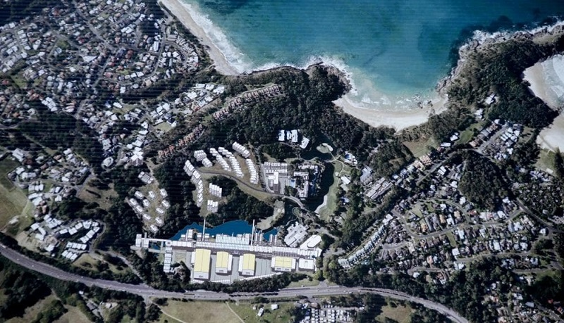 An aerial of the Coffs Harbour film studio conversion at Pacific Bay Resort.