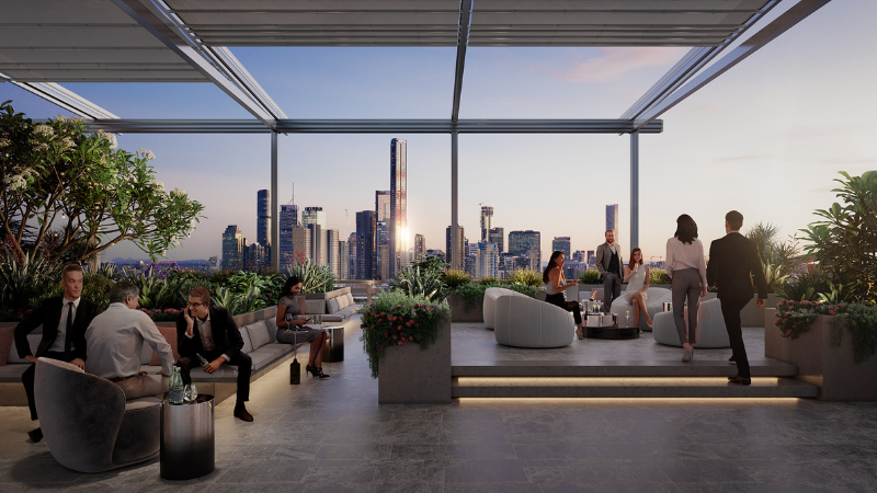 ▲(mid) A rooftop bar, and outdoor breakout spaces have been incorporated in the design of 895 Ann St. Image: Consolidated Properties Group