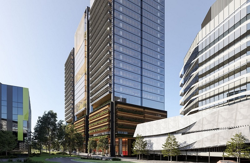 mid article image 800x400. The although the 22-storey office tower is one building it has three distinct segments as well as a landscaped podium providing parking.