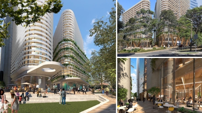 Three cross laminated towers to be built on a corner block in St Leonards, north of Sydney, it has through site links and greenery surrounding the development.